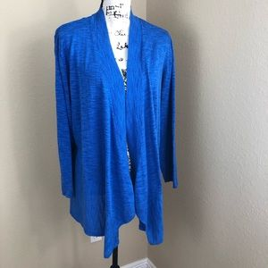 Kasper Marine Blue Space Dye Cardigan Sweater 1X